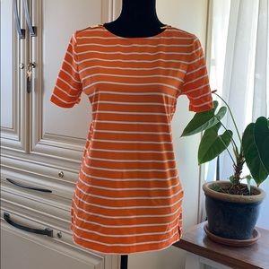 Michael kors orange and white striped shirt